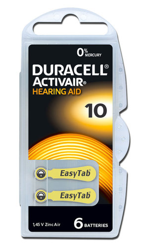 6 x Duracell Hearing Aid Batteries Size 10 / YELLOW