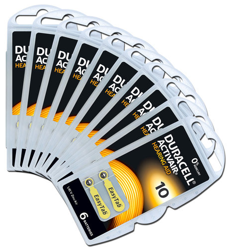 60 x Duracell Hearing Aid Batteries Size 10 / YELLOW