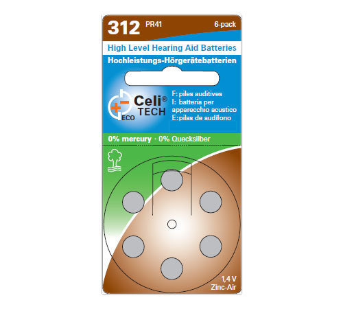 6 x Celitech Hearing Aid Batteries Size 312 / BROWN