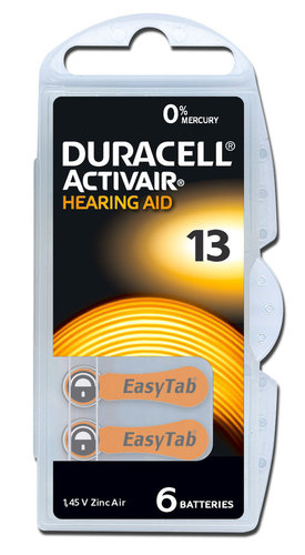 6 x Duracell Hearing Aid Batteries Size 13 / ORANGE