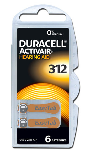 6 x Duracell Hearing Aid Batteries Size 312 / BROWN
