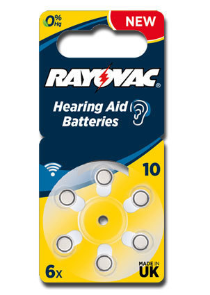 6 x Rayovac Acoustic Special Hearing Aid Batteries Size 10 / YELLOW