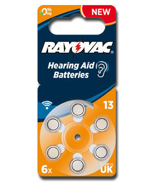 6 x Rayovac Acoustic Special Hearing Aid Batteries Size 13 / ORANGE