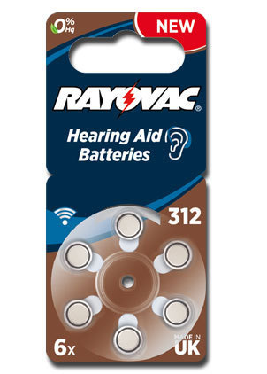 6 x Rayovac Acoustic Special Hearing Aid Batteries Size 312 / BROWN