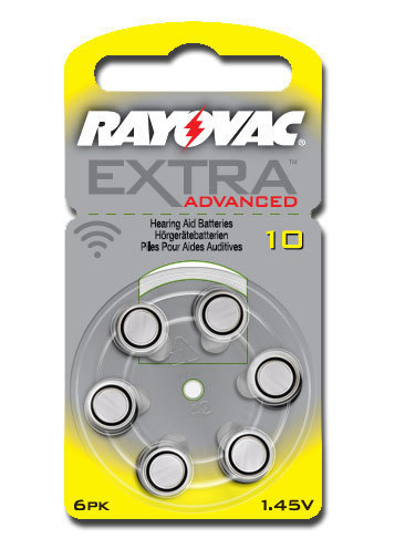 6 x  Rayovac Extra Advanced Hearing Aid Batteries Size 10 / YELLOW