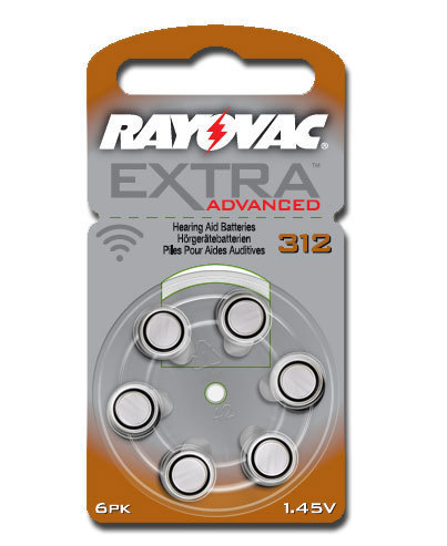 6 x  Rayovac Extra Advanced Hearing Aid Batteries Size 312 / BROWN