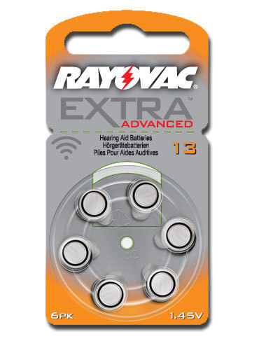 6 x  Rayovac Extra Advanced Hearing Aid Batteries Size 13 / ORANGE
