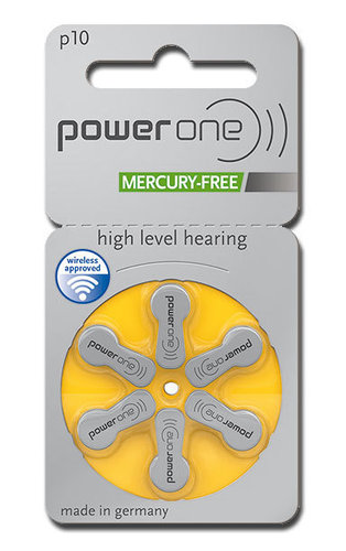 6 x Power One Hearing Aid Batteries Size 10 / YELLOW