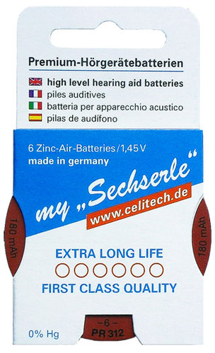 "6 x ""Sechserle"" Hearing Aid Batteries Size 312 / BROWN  in the Recyclingbox"