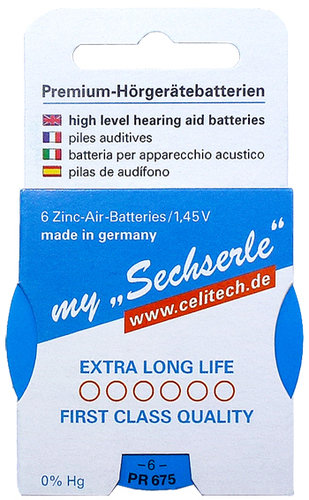 "6 x ""Sechserle"" Hearing Aid Batteries Size 675 / BLUE in the Recyclingbox"