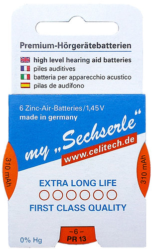 "6 x ""Sechserle"" Hearing Aid Batteries Size 13 / ORANGE in the Recyclingbox"