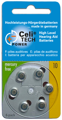 6 x Celitech Power Hearing Aid Batteries Size  10 / YELLOW